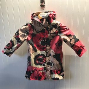 Baby Gap Raincoat Pink Brown Floral Print 4T